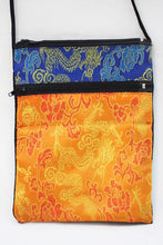 Load image into Gallery viewer, Tarot Deck Bag in Blue and Orange Rayon Brocade and Cotton Velvet