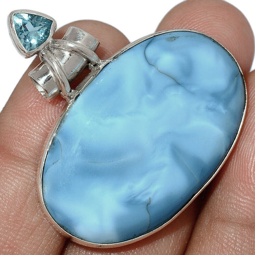 Blue Owyhee Opal Pendant with Blue Topaz Accent on Tube Bail