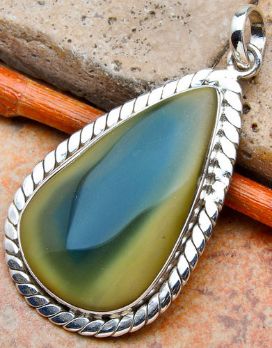 Willow Creek Jasper Pendant with Sterling Silver Rope Design