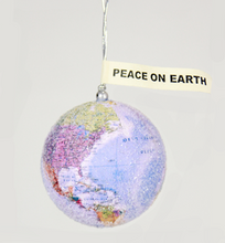 Load image into Gallery viewer, Peace on Earth Ornament Glittered Globe