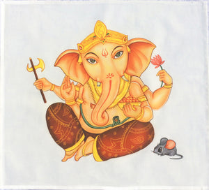 Peach Lord Ganesh Cotton Tarot Cloth by Kyle MacDugall