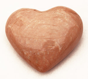 Peach Moonstone Puffed Heart