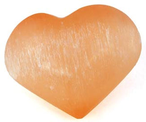Peach Orange Selenite Puffy Heart removes resistance to true love