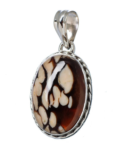 Peanut Wood Jasper Oval Cabochon Pendant in Sterling Silver with Braid Design