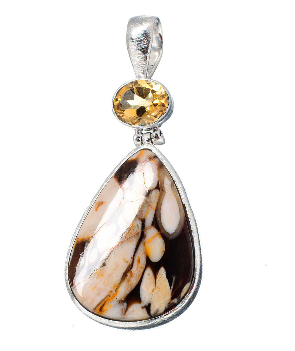 Peanut Wood Jasper Pendant with Faceted Citrine
