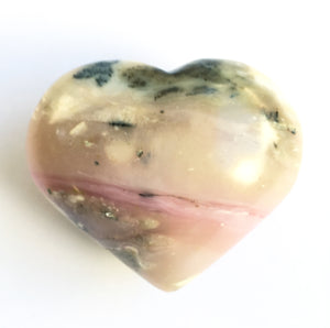 Peruvian Pink Opal 2 Inch Puffy Crystal Heart - great for feminine health