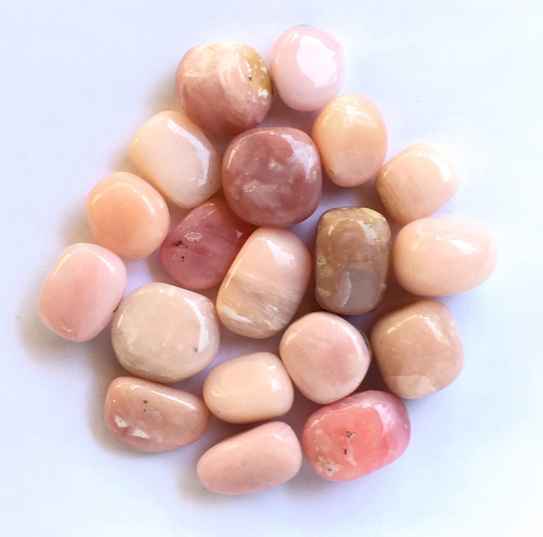 Peruvian Pink Opal Pocket Stone: first quality. 16 to 20mm long  - great for feminine health