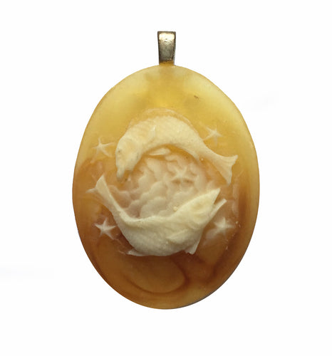 Zodiac Pendant Resin Pisces the Fish Vintage Cameo Pendant