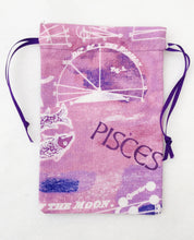 Load image into Gallery viewer, Pisces Zodiac Sign Cotton Drawstring Bag for Your Tarot Deck