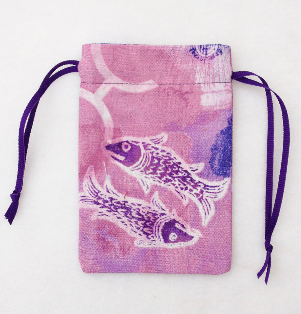 Pisces Zodiac Sign Cotton Drawstring Bag for Your Tarot Deck