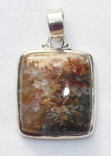 China Plumite Jasper Pendant in Sterling Silver Frame for Athletes