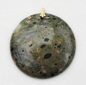Green China Plumite Poppy Pendant with Gold Bail