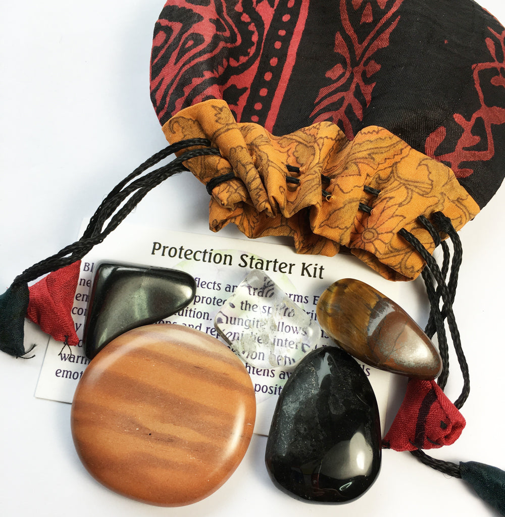 Protection Stones - Starter crystal kit of five stones in a silk sari drawstring pouch