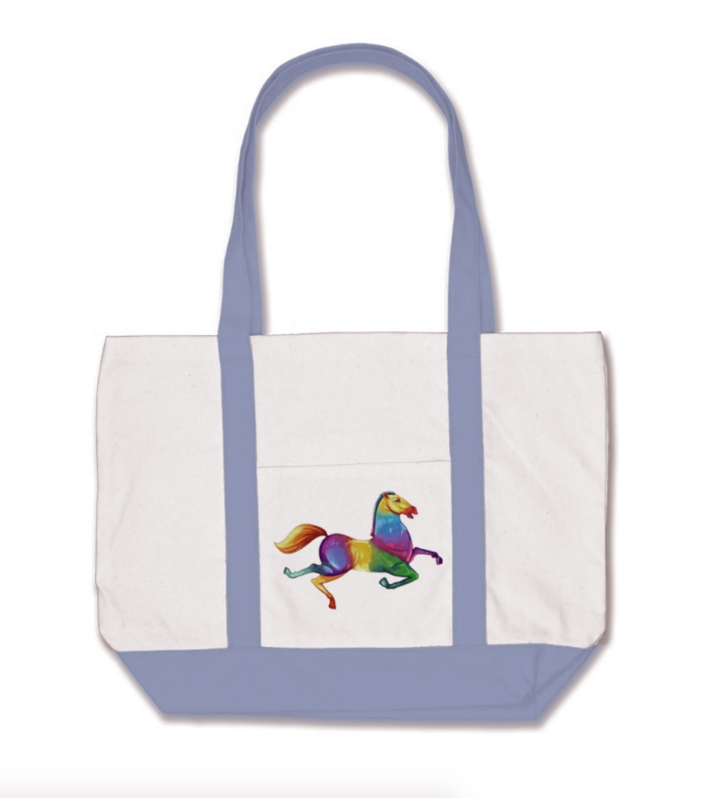 Psychedelic Horse by Kyle MacDuggle Natural Cotton Tote with Periwinkle Blue Straps and Base
