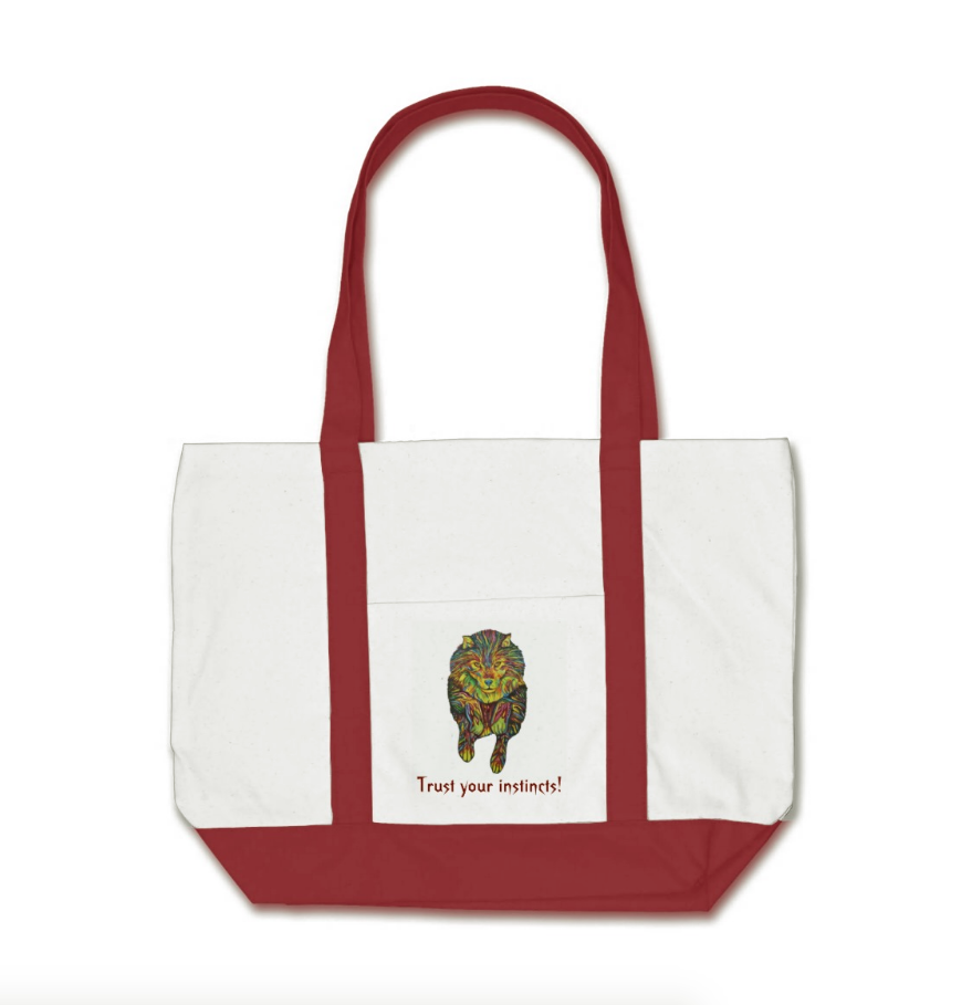 Psychedelic Wolf Natural Cotton Tote with Red Straps and Base