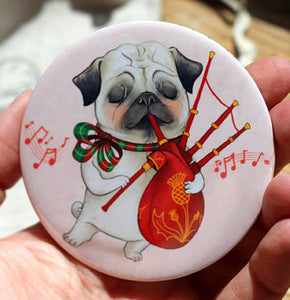 "Pug and Bagpipes Pocket Mirror - 3"" big, but very lightweight!"