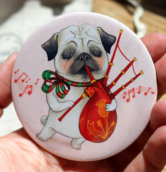 Pug and Bagpipes Pocket Mirror - 3