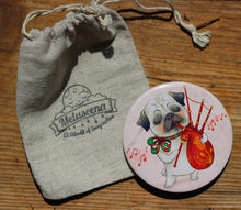 "Load image into Gallery viewer, Pug and Bagpipes Pocket Mirror - 3"" big, but very lightweight!"