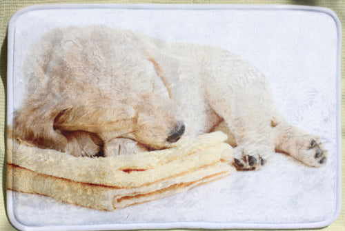 Cute Bath Mat of Golden Retriever Puppy