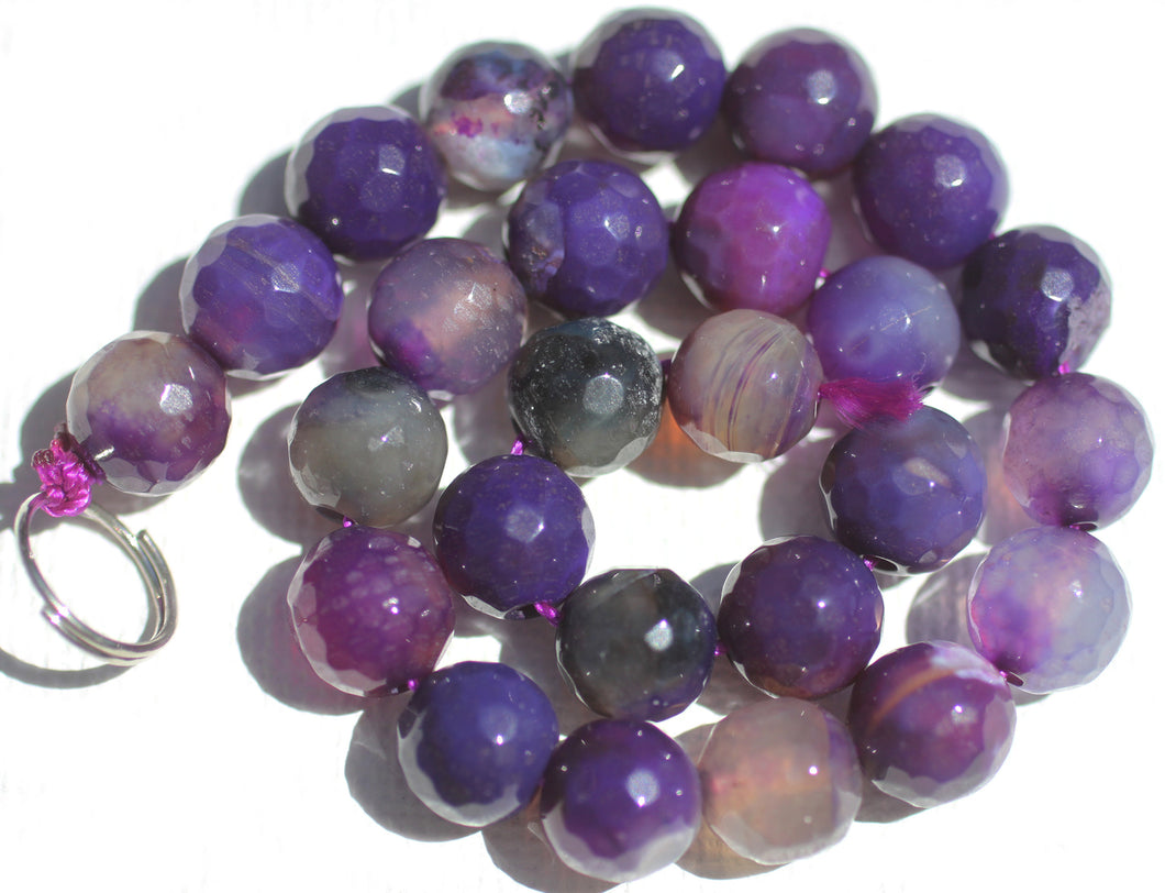 Purple Dragon Veins Agate Faceted 7.5mm Beads