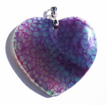 Load image into Gallery viewer, Dragon Veins Agate Heart Pendant in Magenta