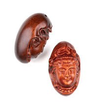 Load image into Gallery viewer, Kwan Yin in Veil Sandalwood Ojime Bead