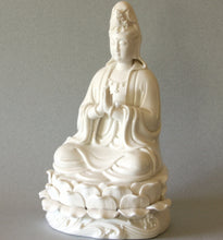 Load image into Gallery viewer, White Porcelain Kwan Yin Statue in Prayer