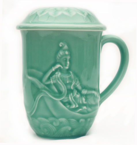Celadon Green Glazed Porcelain Reclining Quan Yin Mug with Lotus Lid
