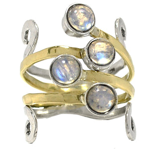 Rainbow Moonstone Fairy Queen Ring in Sterling Silver and Brass - Size 8