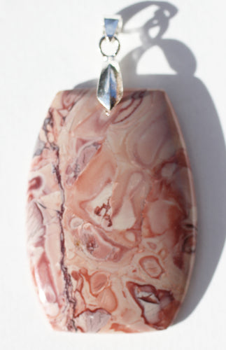 Red Cloud Stone Jasper Barrel Shaped Pendant with Silver Bail - Taurus Stone
