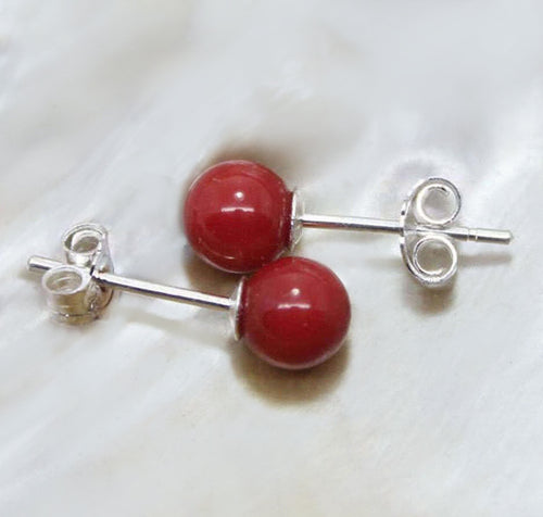 Red Coral Earrings 8mm Round Sterling Silver Studs