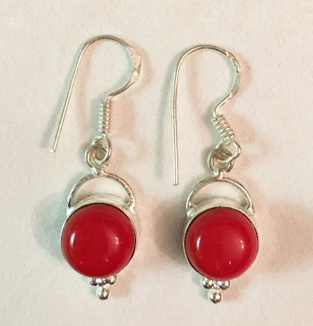 Red Coral Round Cabs Sterling Silver Dangle Earrings