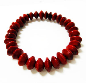 Red Rondel Small Seed Mala Style Red Sandalwood Bracelet