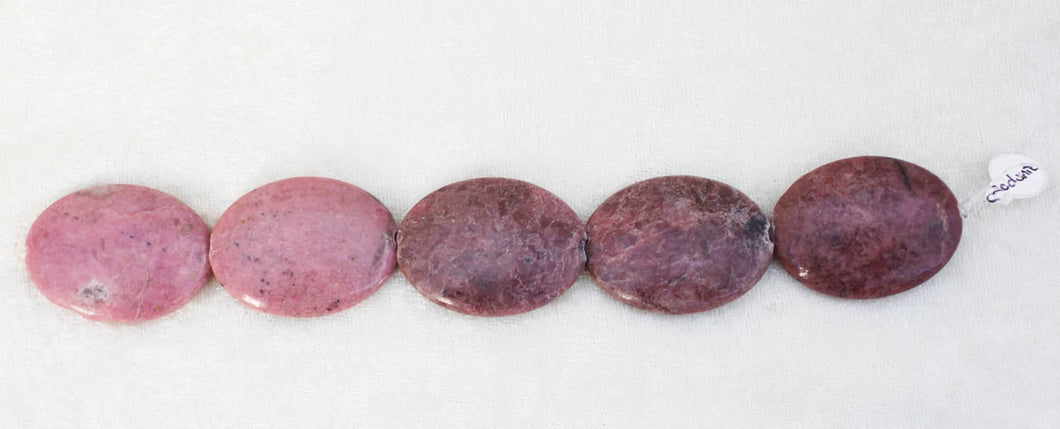 Rhodonite 8 inch Strand Puffy 30x40 Oval Beads (reduced for imperfection)