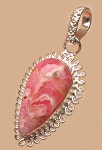 Rhodochrosite Pendant in a Sterling Silver loop setting