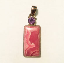 Load image into Gallery viewer, Rhodochrosite Pendant with faceted Round Brazilian Amethyst  - a master balancing crystal