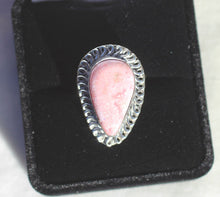 Load image into Gallery viewer, Rhodochrosite Ring Size 7 Pear-Shaped Sterling Silver Plated