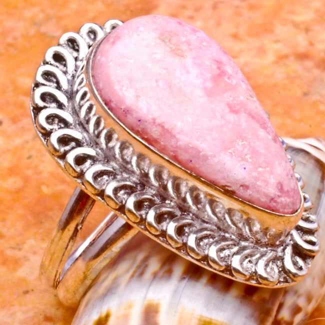 Rhodochrosite Ring Size 7 Pear-Shaped Sterling Silver Plated