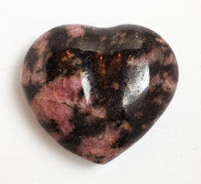 Load image into Gallery viewer, Rhodonite Puffy Heart - translucent 32mm