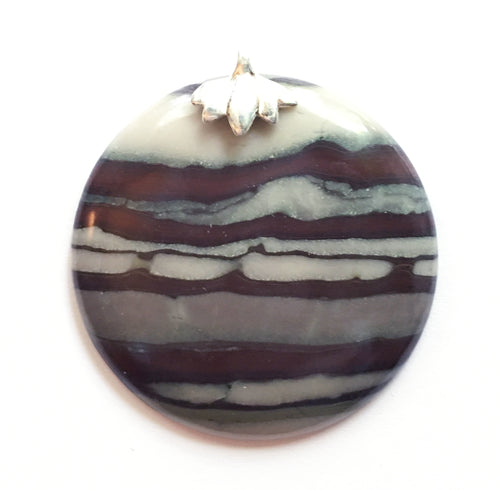 Ribbon Jasper Pendant with Silver Lotus Bail