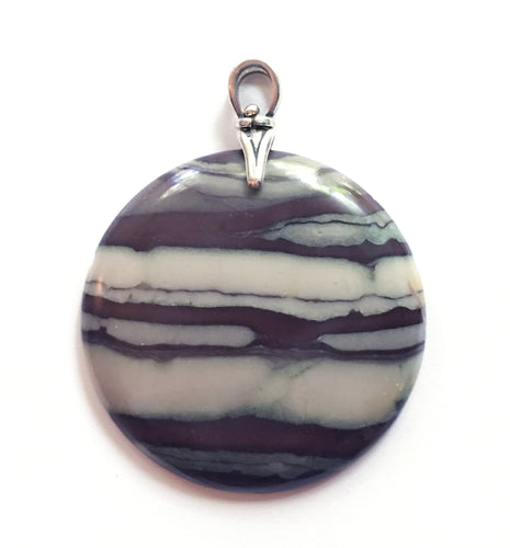 Ribbon Jasper Pendant with Silver Art Deco Reproduction Bail