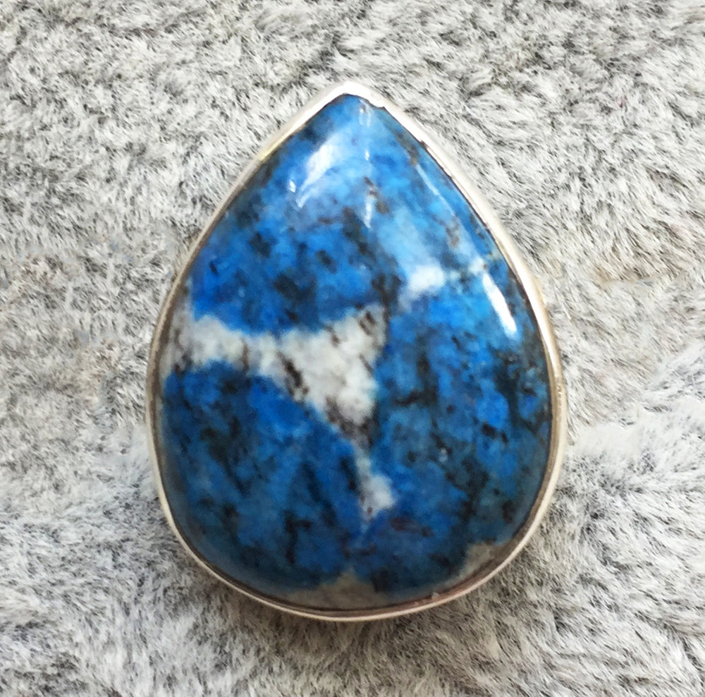 K2 Ring Azurite in Granite size 7.5