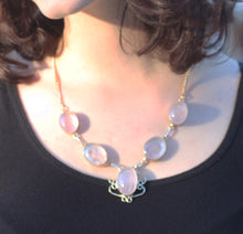 Load image into Gallery viewer, Rose Quartz from Madagascar 5 Cab Necklace in Sterling Silver - Put the Love Where You Want It Most