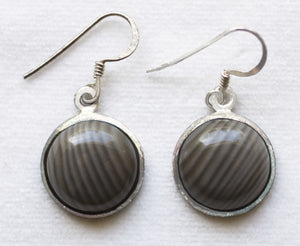 Botswana Agate Earrings sterling silver round dangles