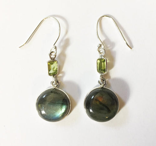 Labradorite Earrings with Peridot baguettes
