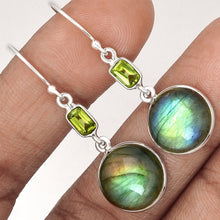 Load image into Gallery viewer, Labradorite Earrings with Peridot baguettes