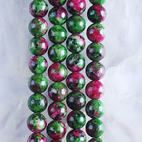 Ruby Zoisite 8.5mm Round Natural Gemstone Beads One Strand