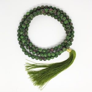 Ruby Zoisite Beaded Mala Tassel Necklace 8mm Beads