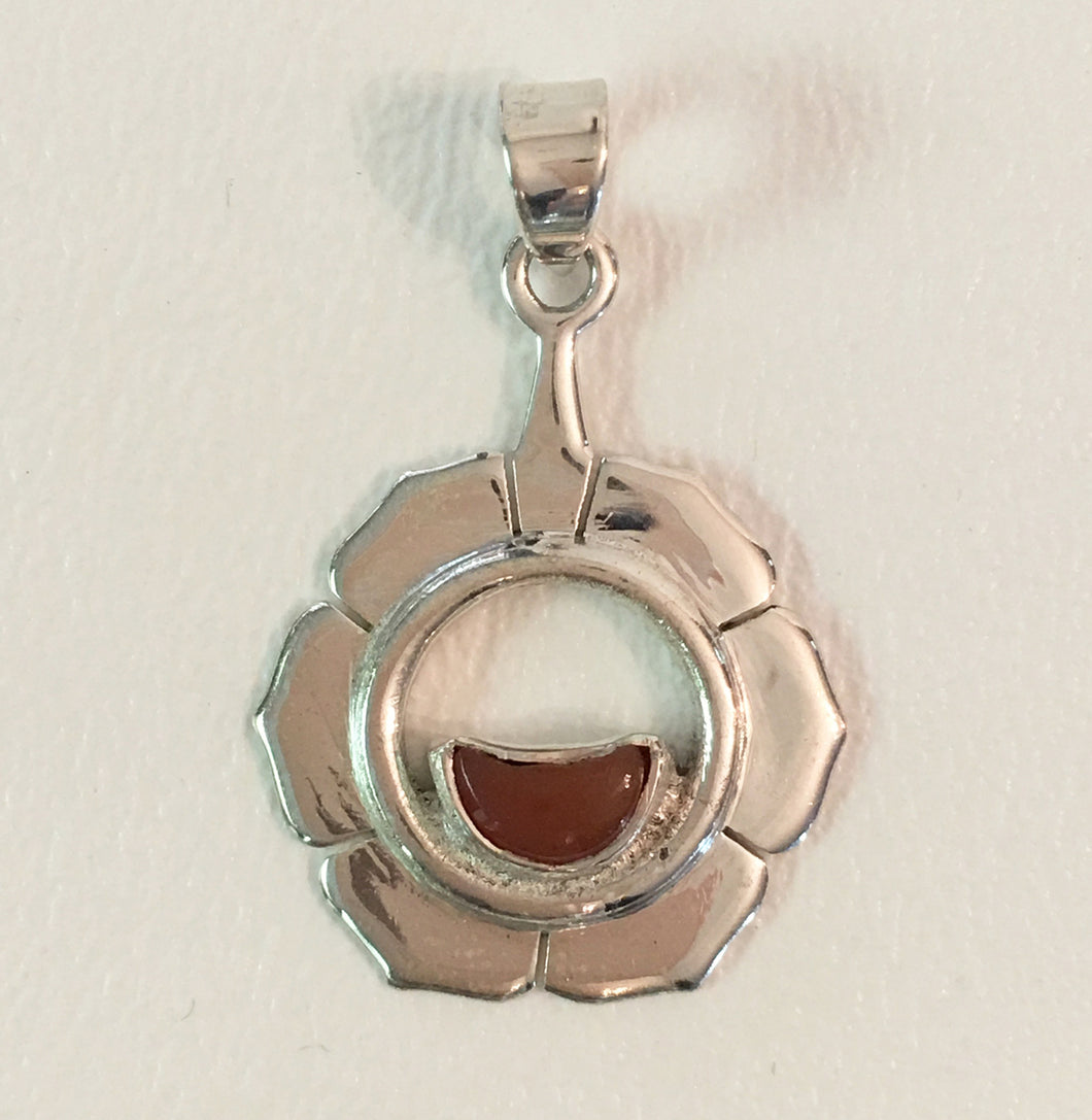 Second Chakra Pendant in Sterling Silver with Carnelian Gemstone