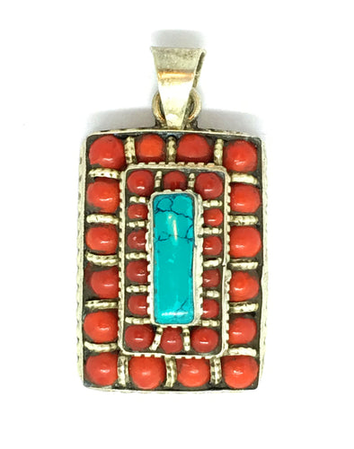 Turquoise and Small Red Coral Beads Santa Rosa Layer Cake Design